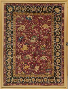 Silk Animal Carpet  Object Name:     Carpet Date:     second half 16th century Geography:     Iran, probably Kashan Medium:     Silk (warp, weft, and pile); asymmetrically knotted pile Dimensions:     Rug: L. 94 7/8 in. (241 cm) W. 70 1/16 in. (178 cm)      Mount: L. 103 1/4 in. (262.3 cm) W. 78 in. (198.1 cm) D. 3 in. (7.6 cm) Wt. 206 lbs. (93.4 kg) Classification:     Textiles-Rugs