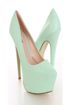 Sea Green Platform Pump Heels