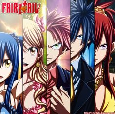 Wendy Marvel, Lucy Heartfilia, Natsu Dragneel, Gray Fullbuster, and Erza Scarlet of Fairy Tail #Fairy_Tail Chapter 335