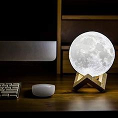Camping Caravan Child bedroom 3D Printed LED Lunar Moon Night Light, Rechargeable 6inch Diameter Lamp