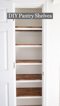 Kitchen Pantry Design, Kitchen Storage, Closet Storage Shelves, Closet Pantry Shelving, Pantry Cabinet Ikea, Storage Room Ideas, Pantry Closet Organization, Diy Built In Shelves, Small Kitchen Pantry