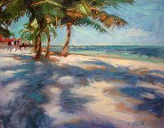 Afternoon Beach Walk- belize palms walking the sandy tropics, painting by artist Mary Maxam Scenery Paintings, Small Paintings, Landscape Paintings, Tropical Style Decor, Surf, Beach Wallpaper, Beach Walk, Fine Art Gallery, Types Of Art