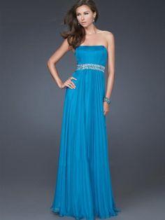 Vestido de Fiesta Azul de Gasa de Corte A de Hasta suelo Strapless Con Rosarios at pickedlook.com
