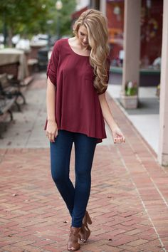 Simple As That Maroon Top- ShopDressUp.com Shop Dress Up, Peplum, Cute Outfits, Simple, Shopping, Collection, Tops, Dresses, Women