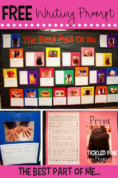 """FREE """"The Best Part of Me"""" writing prompt to help build student self esteem. This writing makes a great bulletin board for open house or valentine's d Valentines Writing Kindergarten, Kindergarten Writing Prompts, Writing Workshop, Teaching Writing, Writing Activities, Writing Ideas, Writing Resources, Valentines Writing Prompts, Teaching Resources"""
