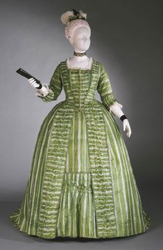 Robe à la Française, ca. 1770-80, French; Bright green and white striped silk plain weave exported from China; silk looped trim; silk taffeta, via The Philadelphia Museum of Art
