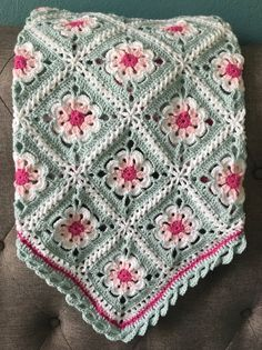 Crochet Granny Square Blankets Floral Baby Blanket Photo Prop Pink Aqua – Reminiscent of your childhood tea set, this sweet Tea Party baby blanket is. Crochet Puff Flower, Crochet Flower Patterns, Afghan Crochet Patterns, Crochet Flowers, Blanket Crochet, Daisy Flowers, Crochet Ideas, Crochet Flower Squares, Crochet Squares Afghan