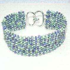 Delicate lilac and greens beaded bracelet peanut beads
