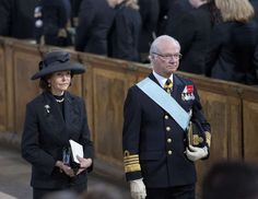 Queen Silvia and King Carl Gustav of Sweden after the funeral of Princess Lilian 3/16/13