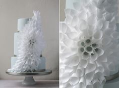 Rice Paper Cone Flower Modern Wedding Cake from Olofson Design.  Gorgeous.