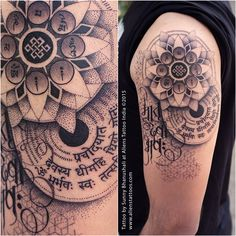 Gayatri mantra, Om Mani Padme Hum, Matru Devo Bhava. Client gave me 3 scripts to combine with mandala. Client dedicated this tattoo to his mother. This is what I came up with, isn't this insanely creative execution of simple idea. Yes it is, share it if you like it. Tattoo by Sunny Bhanushali at Aliens Tattoo India. www.alienstattoos.com