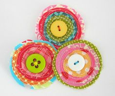 Scrappy Fabric Blooms  Set of 3  Handmade by chocolatecupcake