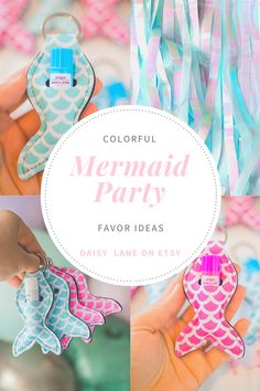Mermaid keychains make an adorable mermaid party favor. Fun colors match any mermaid birthday party color scheme. Not only are the cute keychains a mermaid tail shape but they hold a standard tube of lip balm. Lay them out on a table to add to your party decorations or hang them from the outside of goodie bags. Fun design for a girls birthday party, under the sea party, a mermaid bachelorette party or even a beach girls trip! Visit daisylanecompany on Etsy today to see all the fun colors. Easy Party Decorations, Birthday Party Decorations, Birthday Parties, Mermaid Party Favors, Mermaid Parties, Mermaid Birthday, Girl Birthday, Bachelorette Party Planning, Under The Sea Party