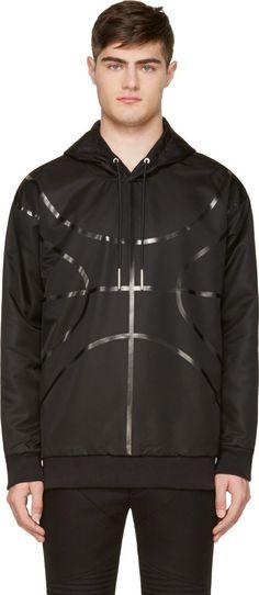 Givenchy: Black Nylon Basketball Accent Hoodie | SSENSE