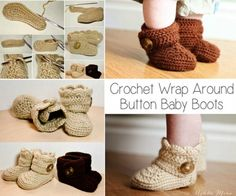 Crochet Wrap Around Button Boots Free Pattern