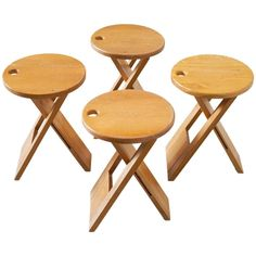 Roger Tallon Set of Four Foldable Stools in Maple   From a unique collection of…