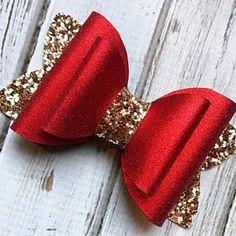 hair clips Red and Gold Glitter Bow Hair Clip Girls Hair Clip Glamour Hair Bow Christmas Hair Bow Valentine Handmade Hair Bows, Diy Hair Bows, Bow Hair Clips, Ribbon Hair, Red Hair Bow, Handmade Crafts, Handmade Rugs, Hair Bow Tutorial, Flower Tutorial