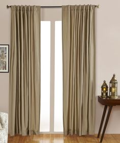 #9P550 Taupe/Gold Faux Silk Curtain (Use Discount Code) YOU PAY 1/2 DOWN