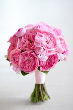 Lovely pink bridal bouquet of pink garden roses