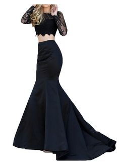 Firose Trumpet V-Back Long Sleeves Black Lace Two-Piece Prom Dress >>> New and awesome product awaits you, Read it now  : Prom dresses