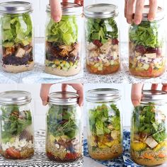 4 Healthy Mason Jar Salads Meal Prep Idea Four quick and easy salads that you can meal prep in a Mason Jar Made with fresh veggies and packed with protein thanks to gril. Healthy Recipe Videos, Healthy Salad Recipes, Healthy Snacks, Mason Jar Meals, Meals In A Jar, Mason Jar Food, Mason Jar Recipes, Mason Jar Lunch, Pot Mason