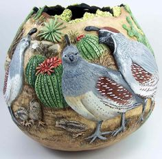 Gourd Art by Phyllis Sickles One of the best sites to visit for travel Decorative Gourds, Hand Painted Gourds, Wood Burning Art, Diy Art Projects, Gourd Art, Rock Art, Wood Carving, Art Forms, Painted Rocks