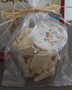 love this! you send animal cookies with a little cup of frosting to dip to school for birthdays. my little guys only hope at school celebrations :)