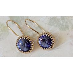 Tanzanite Crystal Earrings Swarovski Crystal Earrings Crystal... ($30) ❤ liked on Polyvore featuring jewelry and earrings