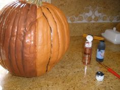 How to paint fake pumpkins