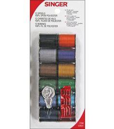 Singer® Polyester Thread 25 Yard Spools 12/pk-Dark Shades