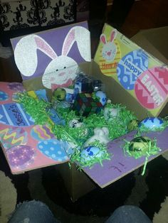 Diy easter care package idea great for missionaries dailylds easter basket for deployed care package negle Images