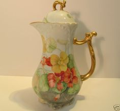 Jean Pouyat Limoges JPL Hand Painted Chocolate Pot, Sweet Pea Flower ...