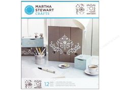 Martha Stewart Stencils by Plaid have a wide selection of designs and styles letting you create a multitude of different projects. Whether you're making a one-of-a-kind object or making multiples of the same design. Flourish Medium- 12 designs include pieces of a damask pattern, ornate borders, corners and more.