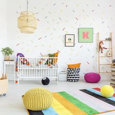 Colorful blanket on white bed in scandinavian style kid's bedroom interior with diy wooden shelf and Nursery Room, Kids Bedroom, Nursery Decor, Room Decor, Nursery Ideas, Baby Room, Themed Nursery, Wall Decor, Feng Shui