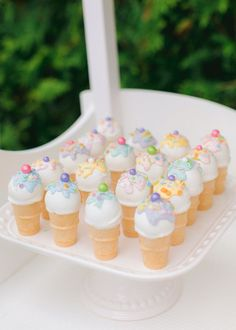 Ice Cream Cone Cake Pops from a Pastel Ice Cream Party on Kara's Party Ideas   KarasPartyIdeas.com