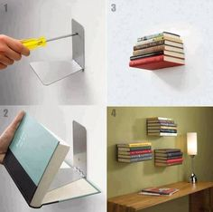 Trend Invisible Shelves Invisible Shelves - This Trend Invisible Shelves ideas was upload on November, 21 2019 by Elmer Emmerich. Here latest Invisible Shelves ideas collecti. Creative Bookshelves, Floating Bookshelves, Book Shelves, Bookshelf Diy, Book Storage, Easy Shelves, Invisible Bookshelf, Diy Casa, Ideas Para Organizar