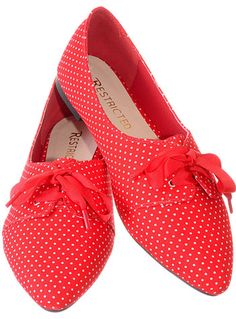 Cherry Red Petite Polka Dots Flats at PLASTICLAND