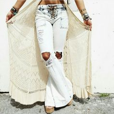 LF Carmar Dare to Flare! Brands new with tags! The perfect boho hippy dippy sexy jeans. Leather string lace up closure. Light denim wash with distressing around the knees. They were too tight on me :( LF Jeans Flare & Wide Leg