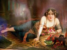 Antique Cleopatra Print Closeup
