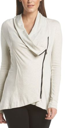 """This cool moto knit jacket is the definition of """"athleisure."""""""