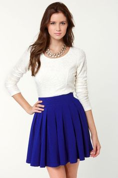 Lovely Royal Blue Skirt - Mini-Skirt - $39.00