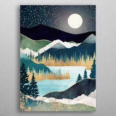 Star Lake Art Poster by Spacefrogdesigns - X Landscape Quilts, Abstract Landscape, Landscape Paintings, Abstract Painting Modern, Abstract Art Blue, Abstract Oil, Metal Tree Wall Art, Canvas Wall Art, Metal Art