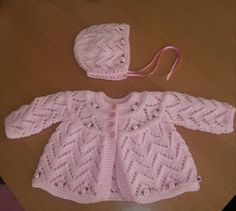 Pink baby girls ROSEBUD hand knit layette by xxdaisychainsxx, $40.00