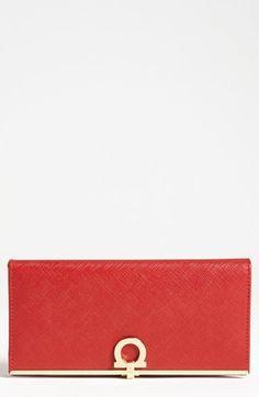 Women's Salvatore Ferragamo 'Icona' Leather Wallet - Red - $595.00