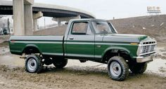 F250 green ford pickup long bed