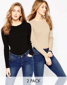 ASOS+Jumper+In+Rib+With+Crew+Neck+2+Pack+SAVE+20%