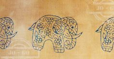 stamping with woodblocks on Cloth -  http://johanna-mixedmediafun.blogspot.de/2016/12/the-elephants-are-marching-in.html