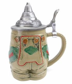 German Lederhosen Ceramic Beer Stein with Metal Lid