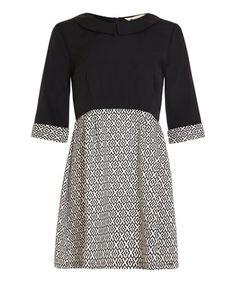 Black Geo Three-Quarter Sleeve A-Line Dress #zulily #zulilyfinds
