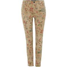 Lauren Ralph Lauren Slim leg floral print cropped jean ($155) ❤ liked on Polyvore featuring jeans, women, brown jeans, lauren ralph lauren, floral print jeans, cropped jeans and flower print jeans